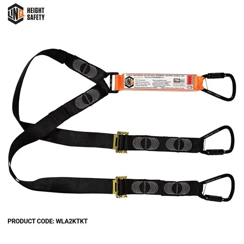 LINQ Elite Double Leg Shock Absorbing 2M Adjustable Lanyard  with Hardware KT X3