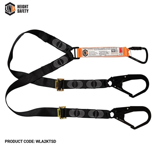 LINQ Elite Double Leg Shock Absorbing 2M Adjustable Lanyard  with Hardware KT & SD X2